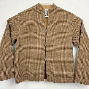 L L Bean Traveler Reversible Coat Glen Plaid M